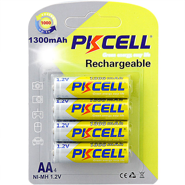 4-Pack AA1300mA NiMH Rechargeable Battery PKCELL